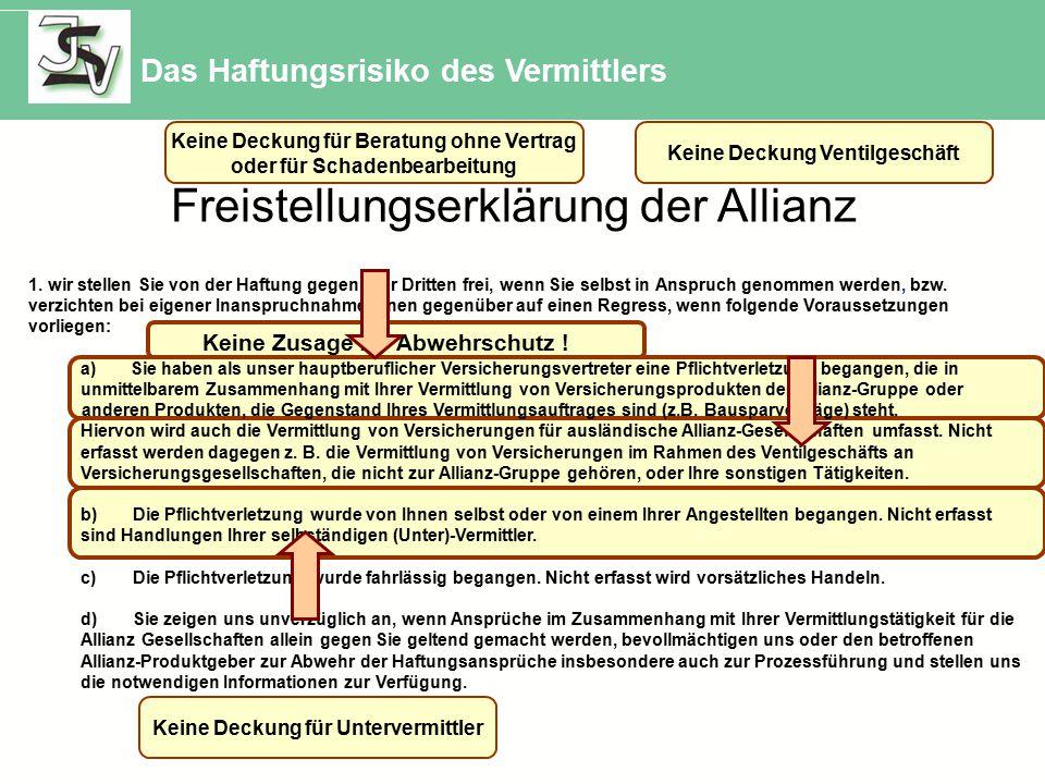 Freistellungserklärung der Allianz