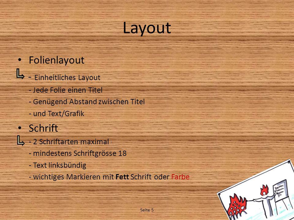 Layout Folienlayout - Einheitliches Layout Schrift