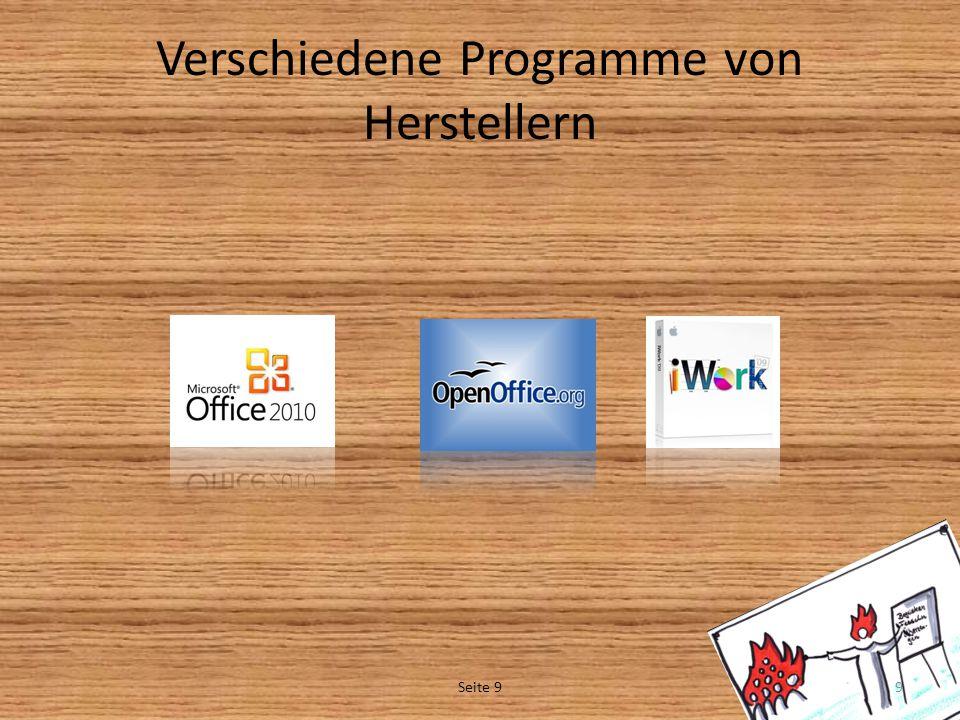 Verschiedene Programme von Herstellern