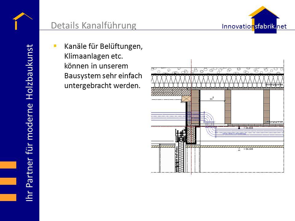Details Kanalführung Kanäle für Belüftungen, Klimaanlagen etc.
