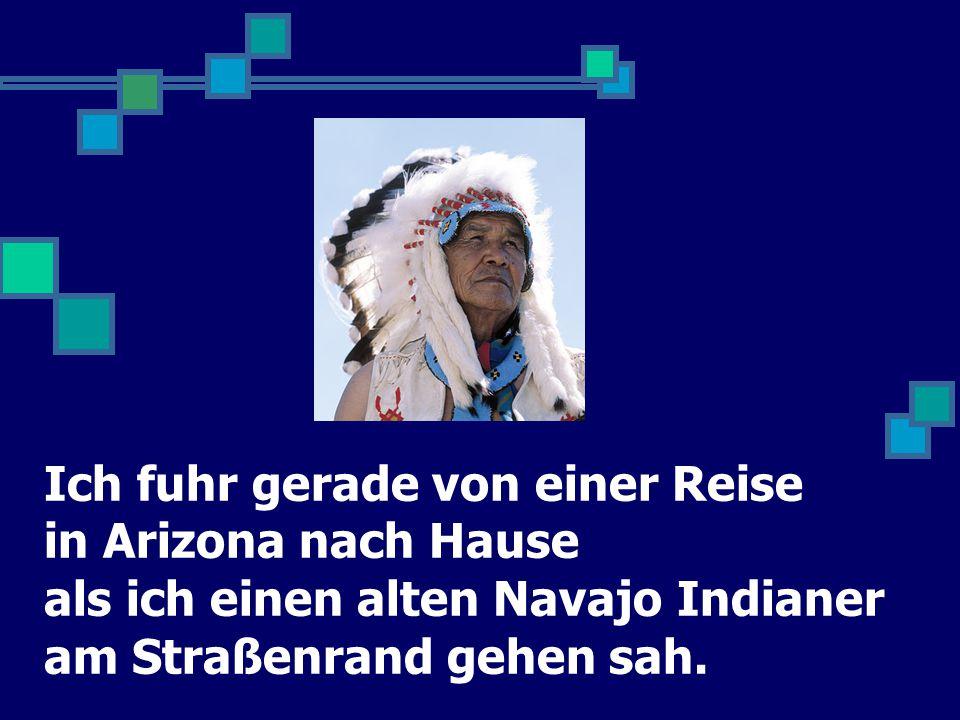 Ich fuhr gerade von einer Reise in Arizona nach Hause als ich einen alten Navajo Indianer am Straßenrand gehen sah.