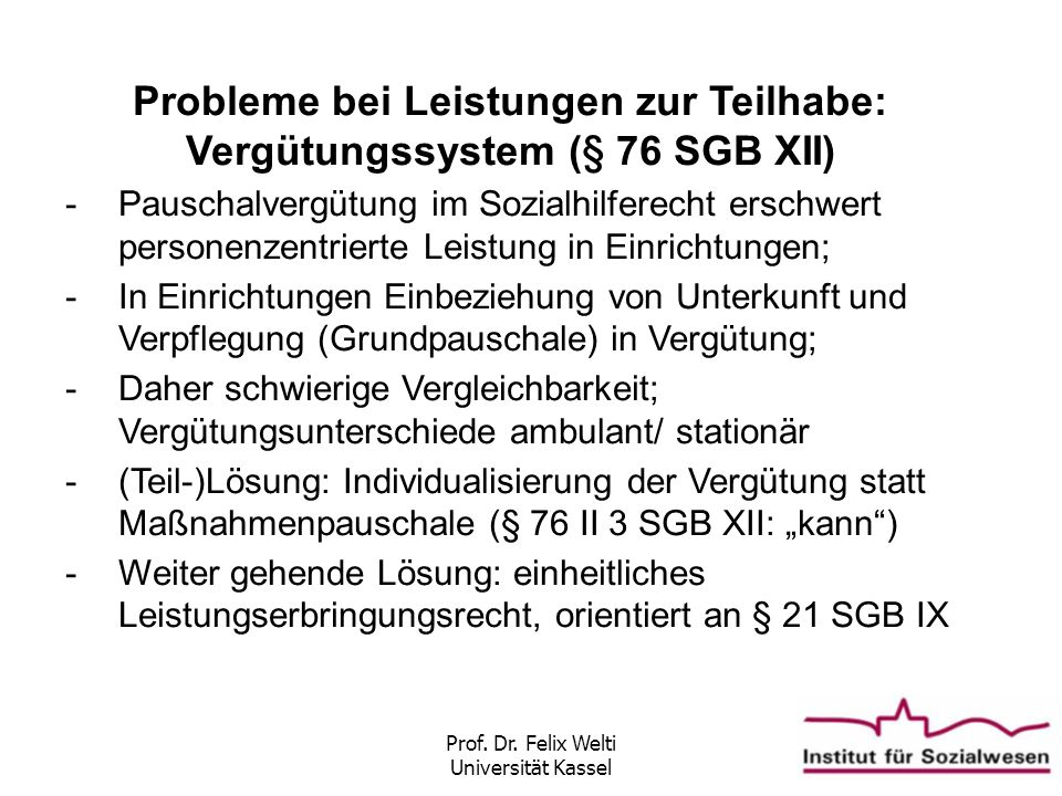Probleme bei Leistungen zur Teilhabe: Vergütungssystem (§ 76 SGB XII)