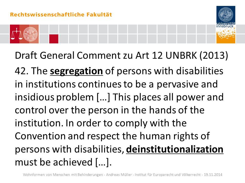 Draft General Comment zu Art 12 UNBRK (2013)