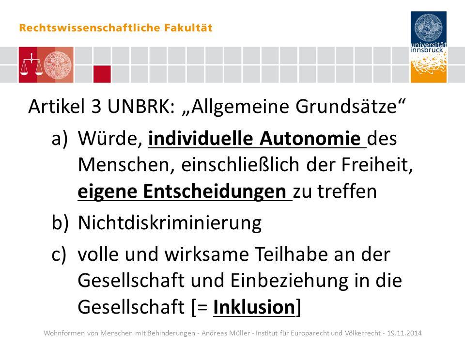 """Artikel 3 UNBRK: """"Allgemeine Grundsätze"""