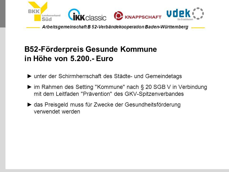 B52-Förderpreis Gesunde Kommune in Höhe von 5.200.- Euro