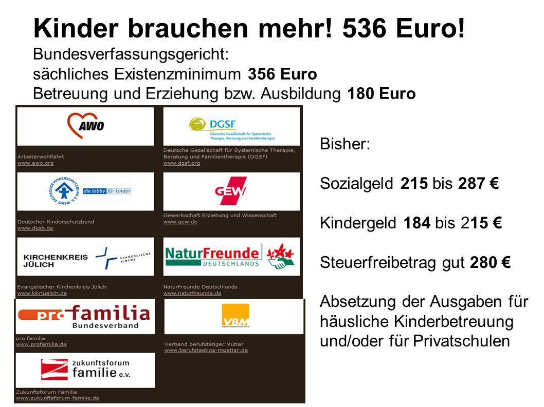Kinder brauchen mehr! 536 Euro!