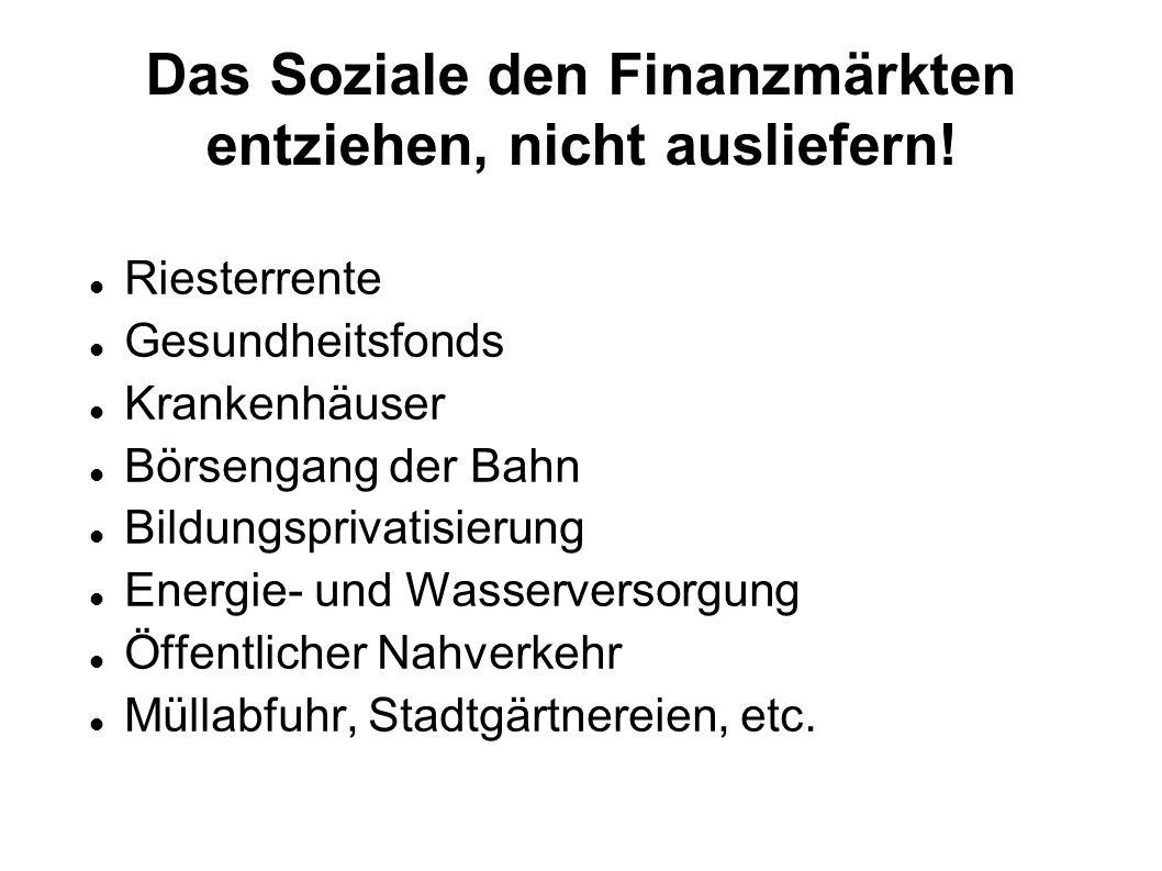 Das Soziale den Finanzmärkten entziehen, nicht ausliefern!
