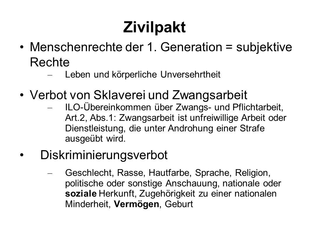 Zivilpakt Menschenrechte der 1. Generation = subjektive Rechte