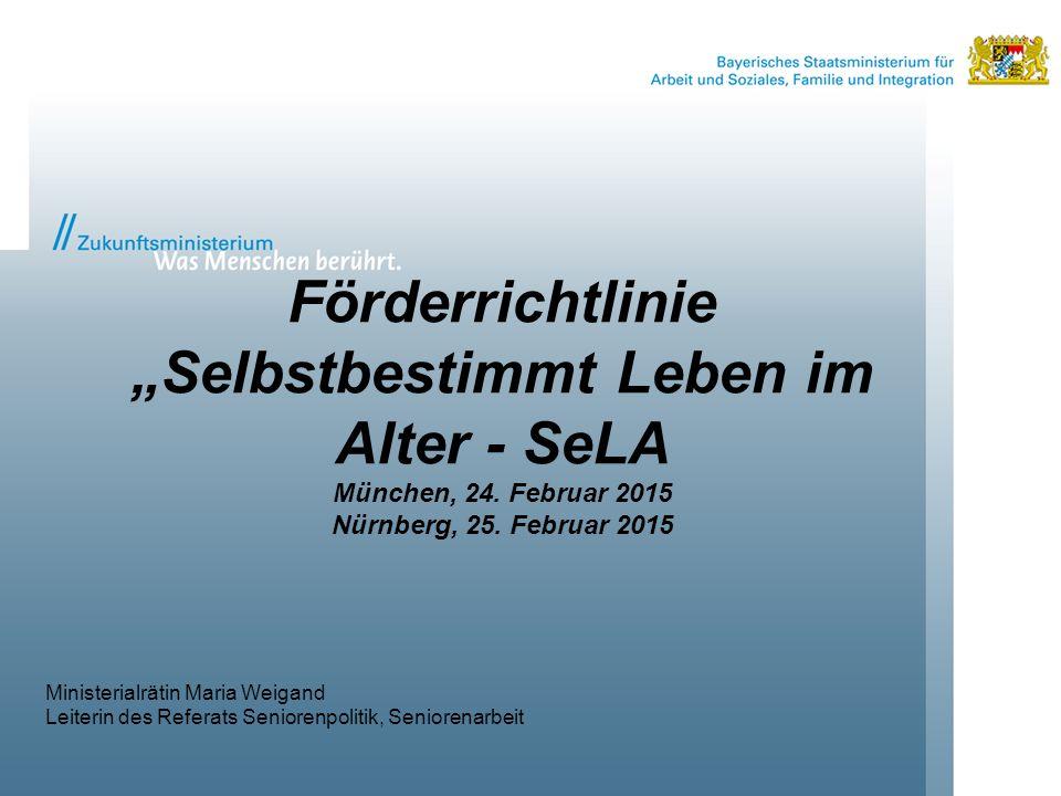 """Förderrichtlinie """"Selbstbestimmt Leben im Alter - SeLA München, 24"""