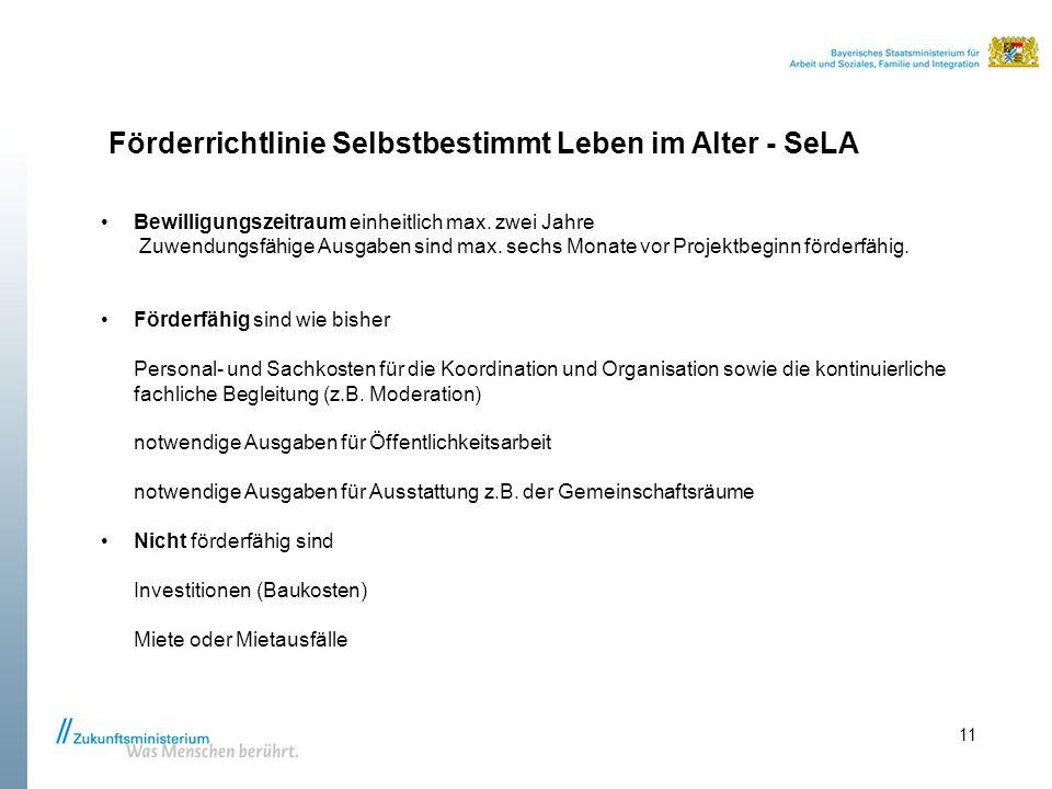 Förderrichtlinie Selbstbestimmt Leben im Alter - SeLA