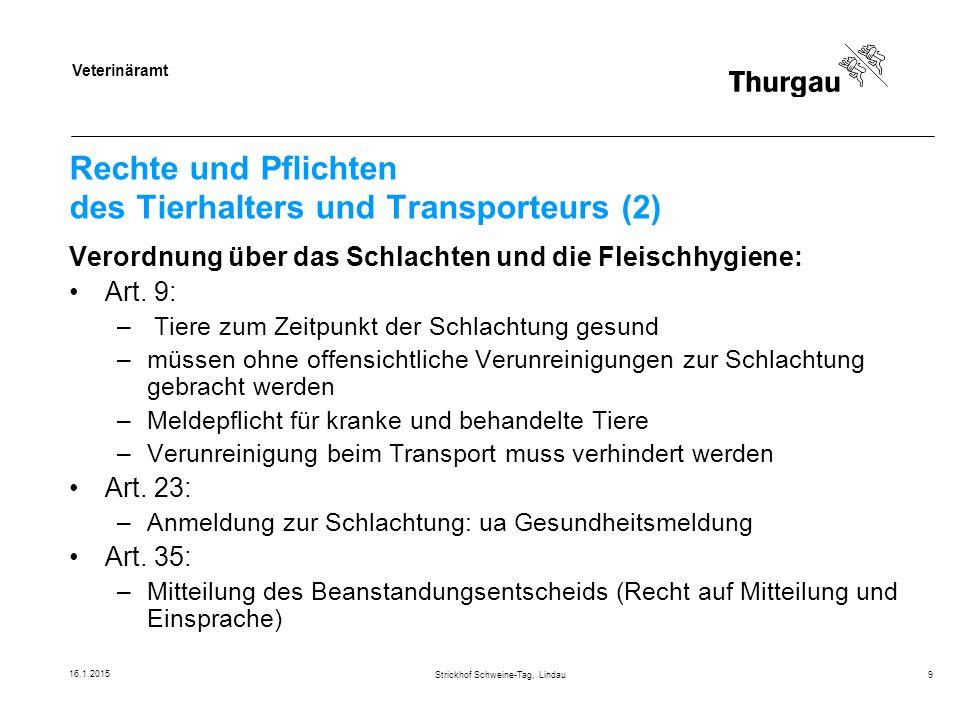 Rechte und Pflichten des Tierhalters und Transporteurs (2)