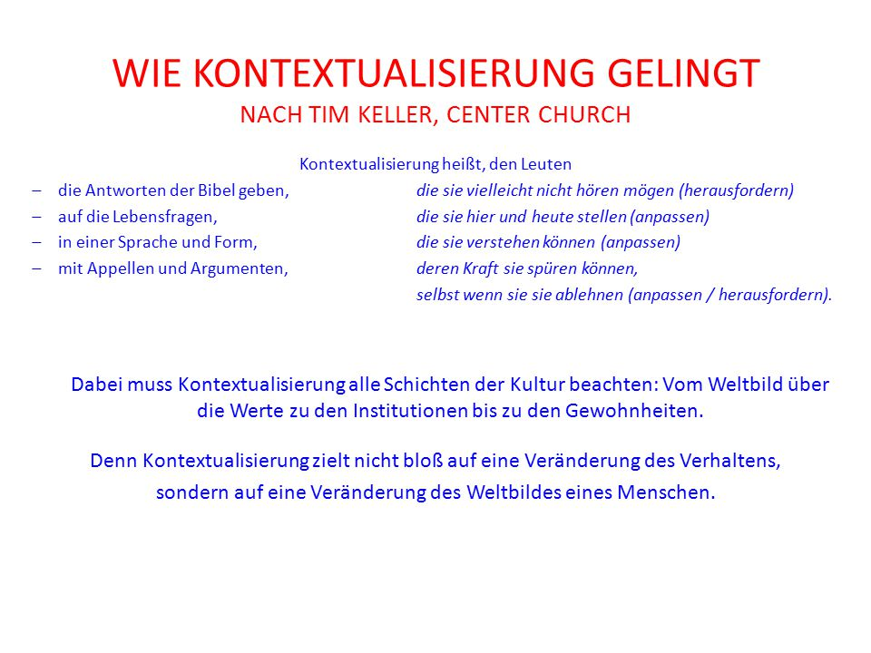 wie Kontextualisierung gelingt nach Tim Keller, Center Church