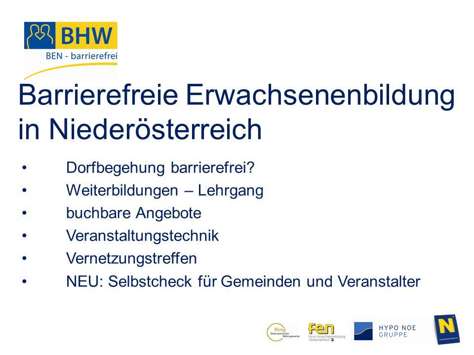 Barrierefreie Erwachsenenbildung in Niederösterreich
