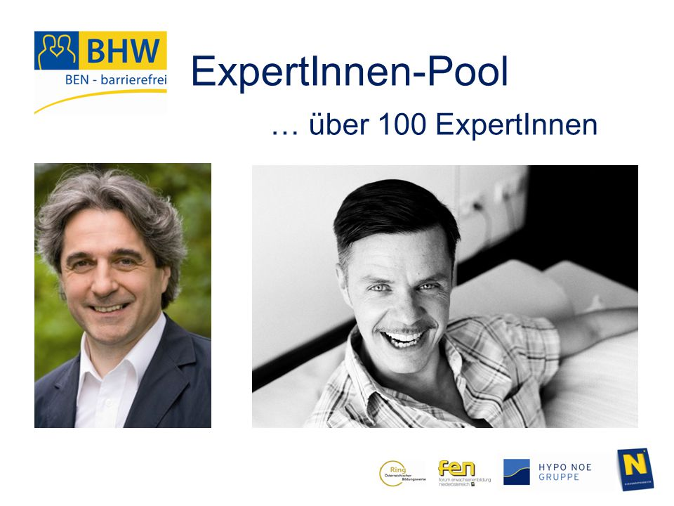 ExpertInnen-Pool … über 100 ExpertInnen