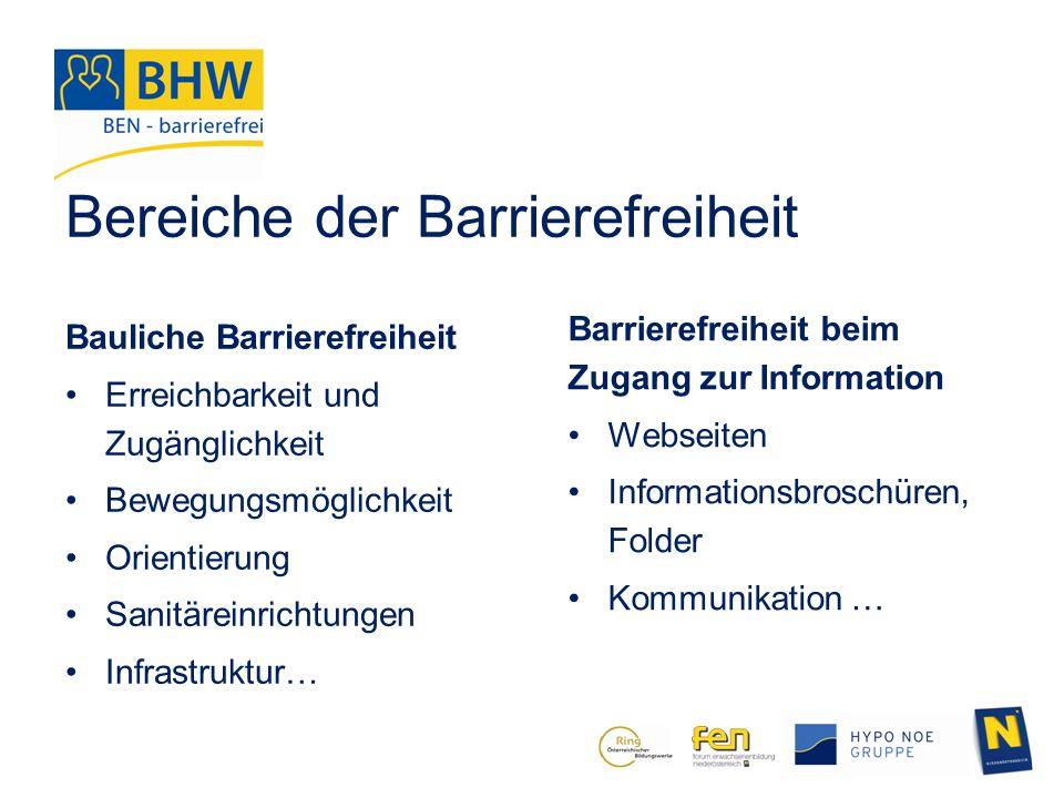 Bereiche der Barrierefreiheit
