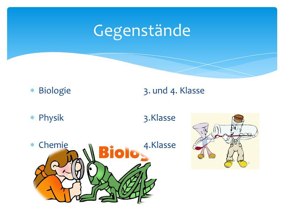 Gegenstände Biologie 3. und 4. Klasse Physik 3.Klasse Chemie 4.Klasse