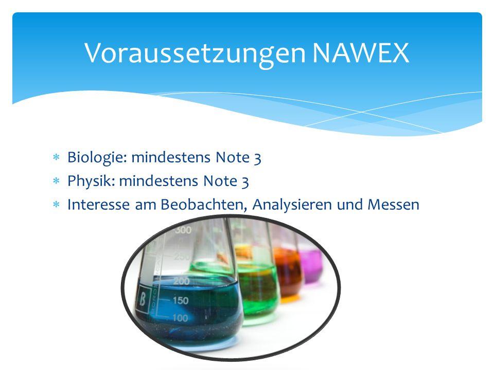 Voraussetzungen NAWEX
