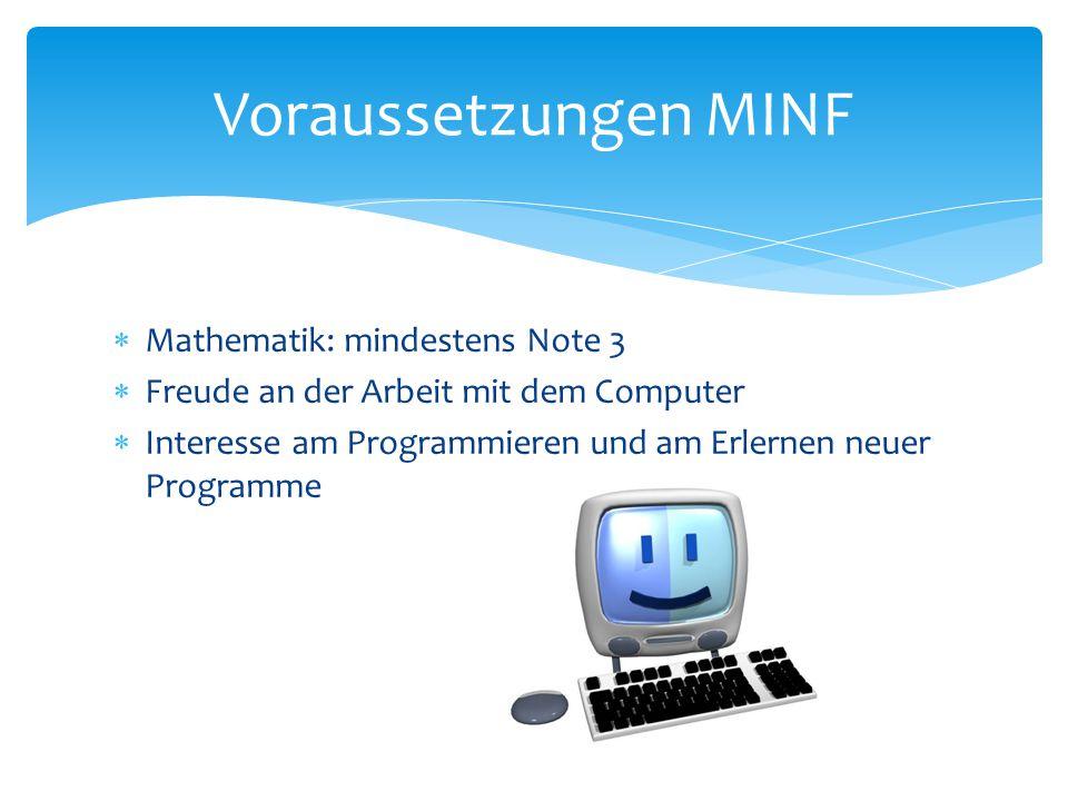 Voraussetzungen MINF Mathematik: mindestens Note 3