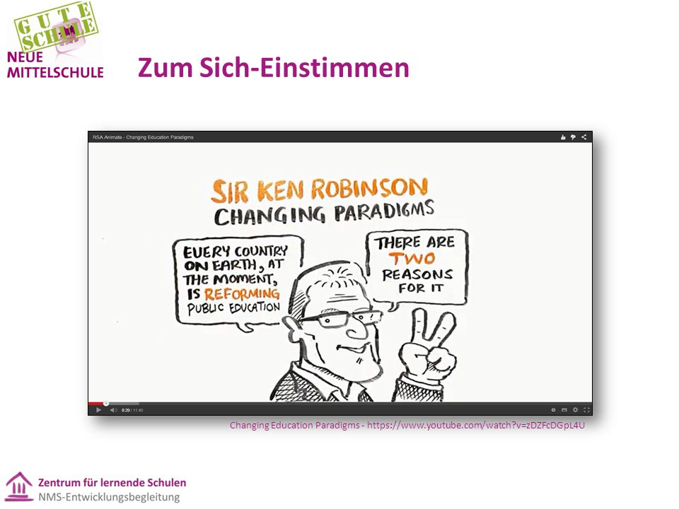 Zum Sich-Einstimmen Changing Education Paradigms - https://www.youtube.com/watch v=zDZFcDGpL4U