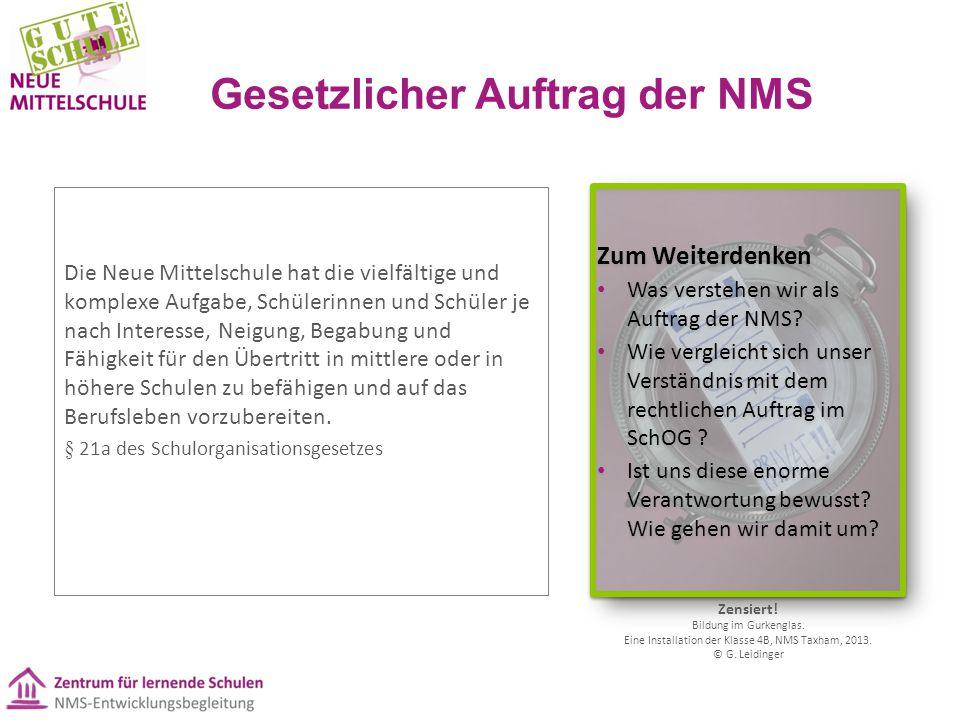 Gesetzlicher Auftrag der NMS