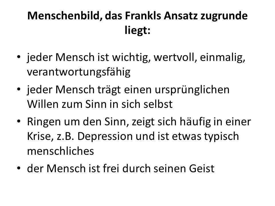 Menschenbild, das Frankls Ansatz zugrunde liegt: