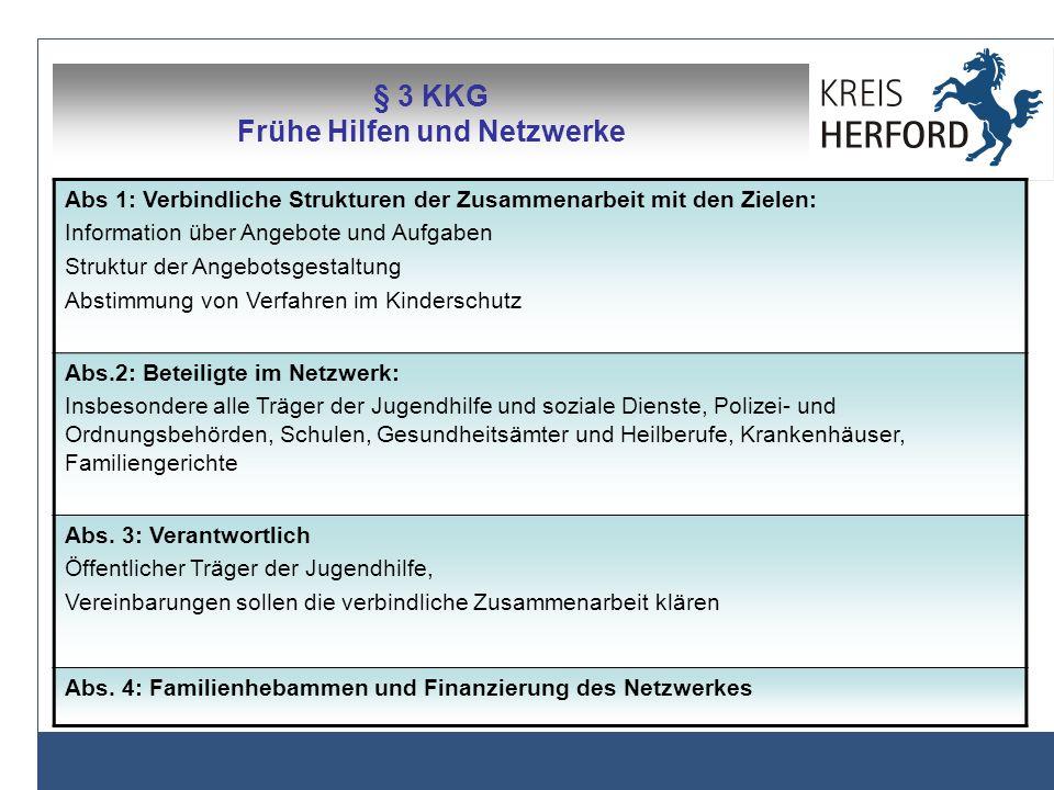 § 3 KKG Frühe Hilfen und Netzwerke