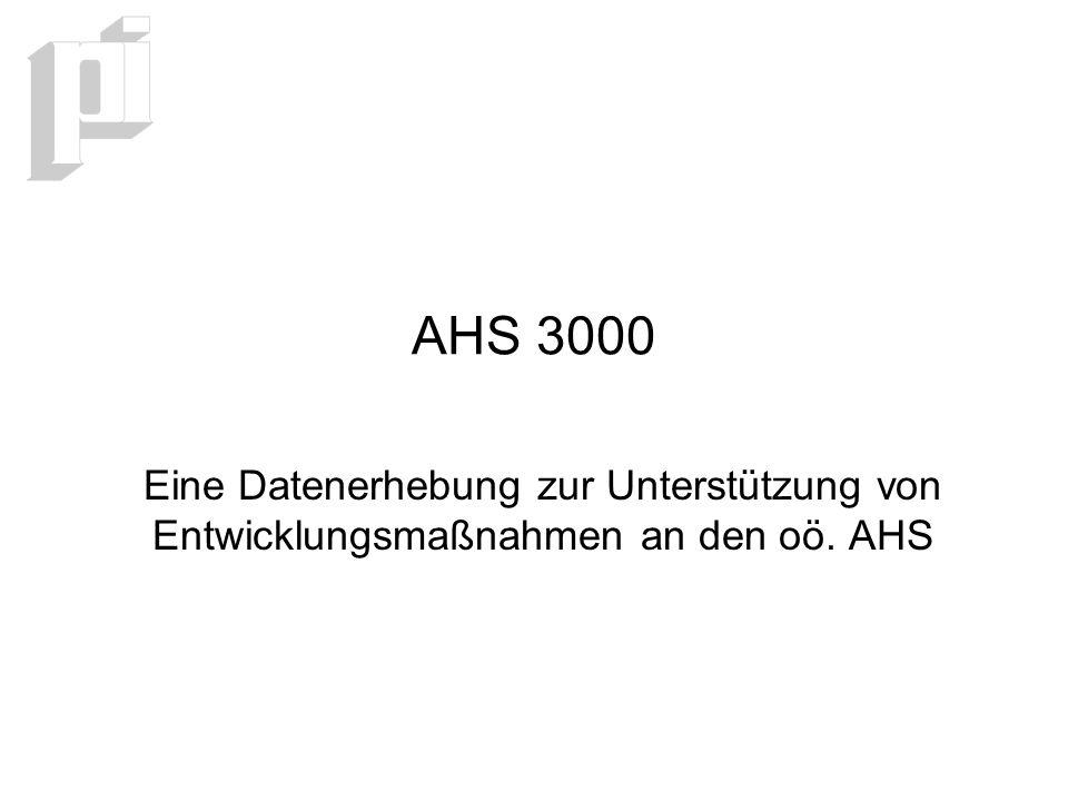 AHS 3000 Eine Datenerhebung zur Unterstützung von Entwicklungsmaßnahmen an den oö. AHS