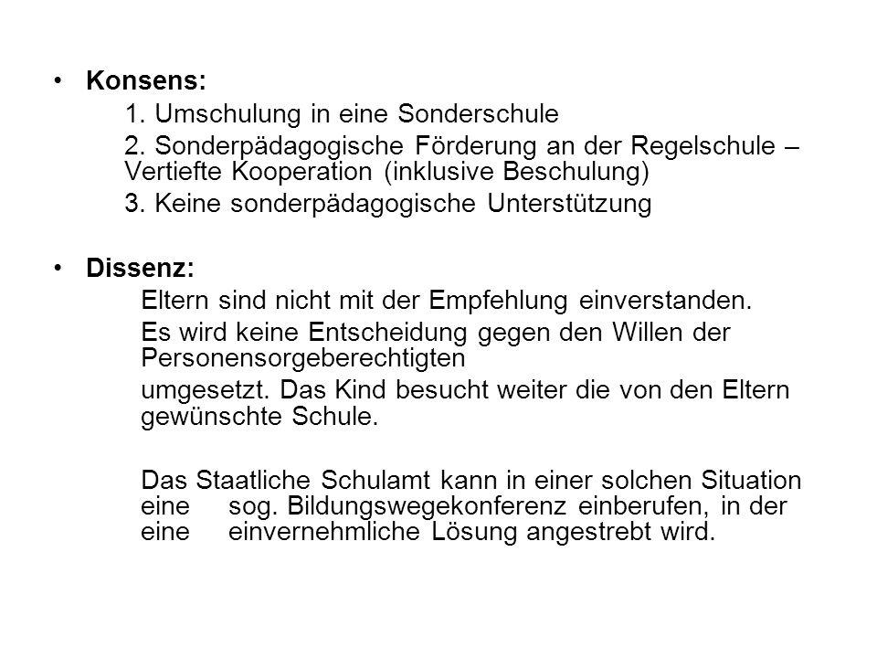 Konsens: 1. Umschulung in eine Sonderschule. 2. Sonderpädagogische Förderung an der Regelschule – Vertiefte Kooperation (inklusive Beschulung)