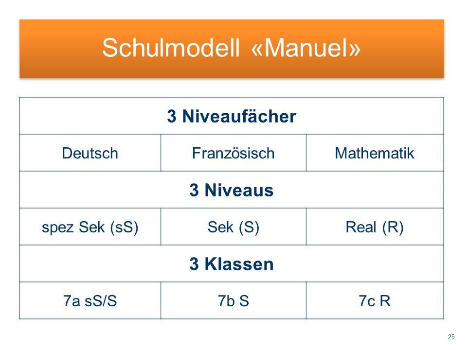 Schulmodell «Manuel» 3 Niveaufächer 3 Niveaus 3 Klassen Deutsch