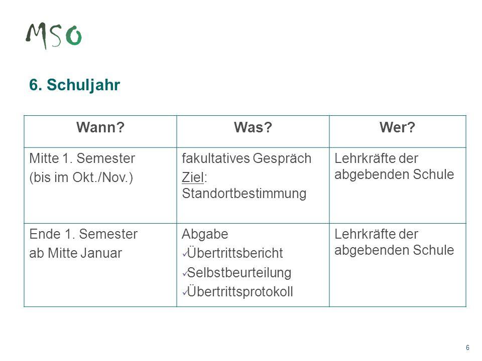 6. Schuljahr Wann Was Wer Mitte 1. Semester (bis im Okt./Nov.)