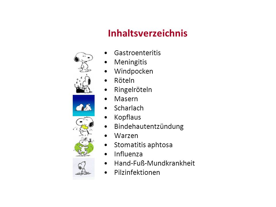 Inhaltsverzeichnis Gastroenteritis Meningitis Windpocken Röteln