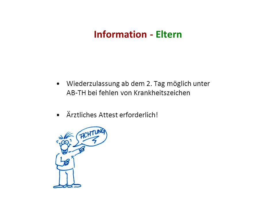Information - Eltern Wiederzulassung ab dem 2. Tag möglich unter AB-TH bei fehlen von Krankheitszeichen.