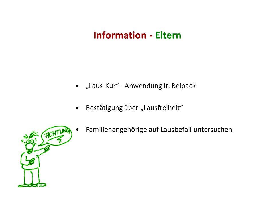 "Information - Eltern ""Laus-Kur - Anwendung lt. Beipack"