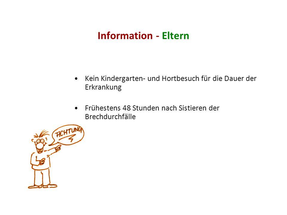 Information - Eltern Kein Kindergarten- und Hortbesuch für die Dauer der Erkrankung.