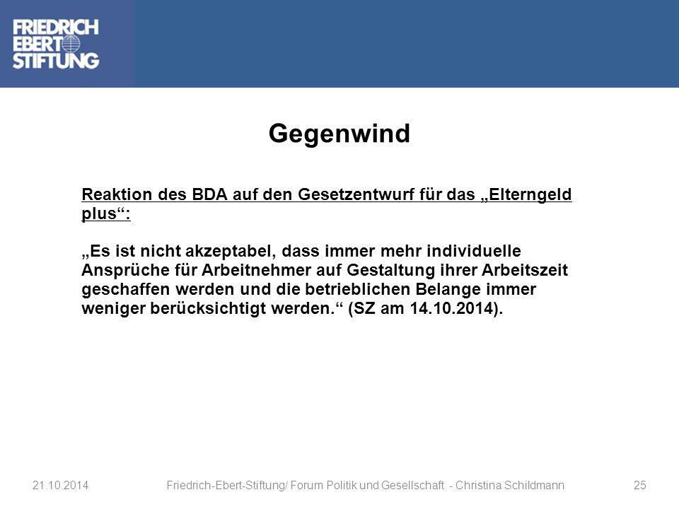 """Gegenwind Reaktion des BDA auf den Gesetzentwurf für das """"Elterngeld plus :"""