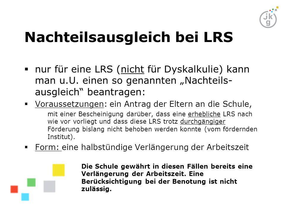 Nachteilsausgleich bei LRS