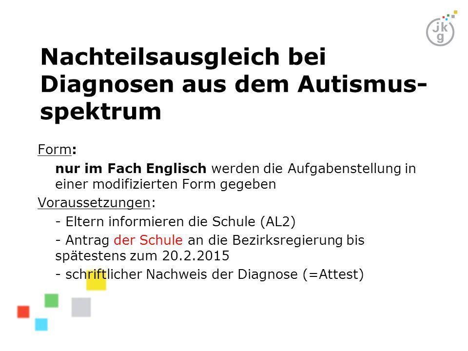 Nachteilsausgleich bei Diagnosen aus dem Autismus-spektrum
