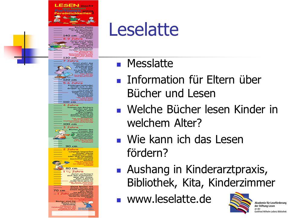 Leselatte Messlatte Information für Eltern über Bücher und Lesen