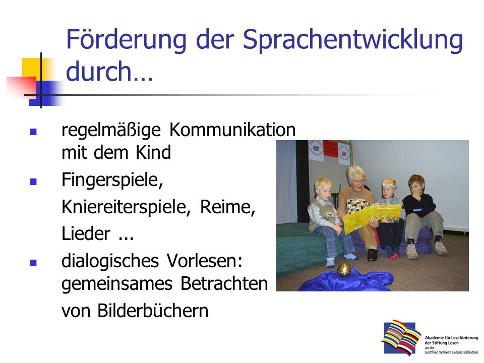 Förderung der Sprachentwicklung durch…