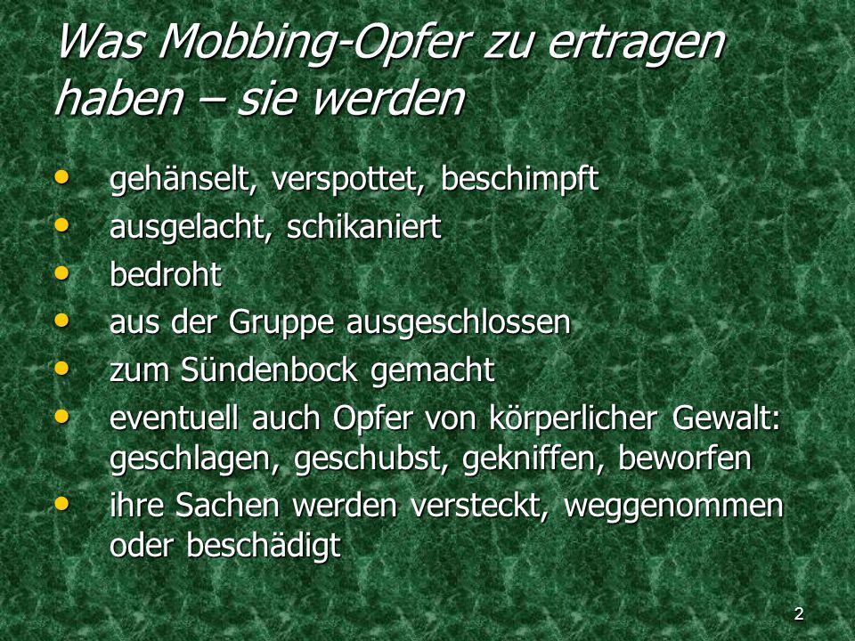Was Mobbing-Opfer zu ertragen haben – sie werden