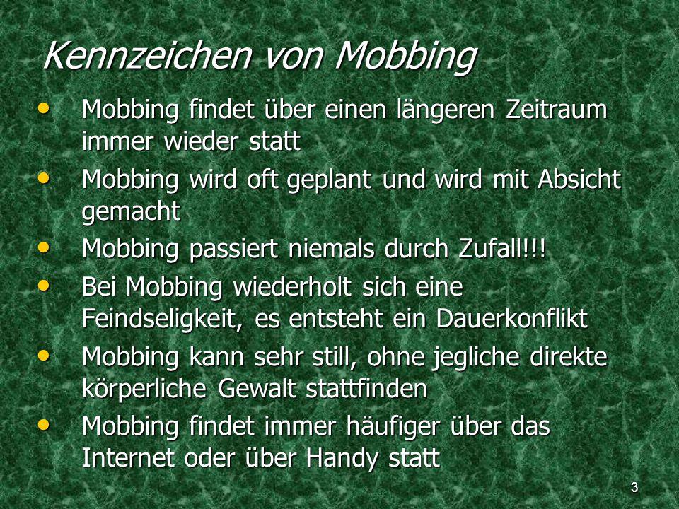 Kennzeichen von Mobbing