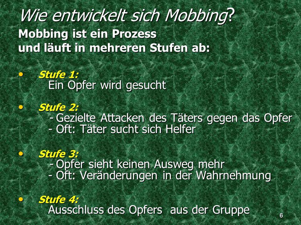 Wie entwickelt sich Mobbing