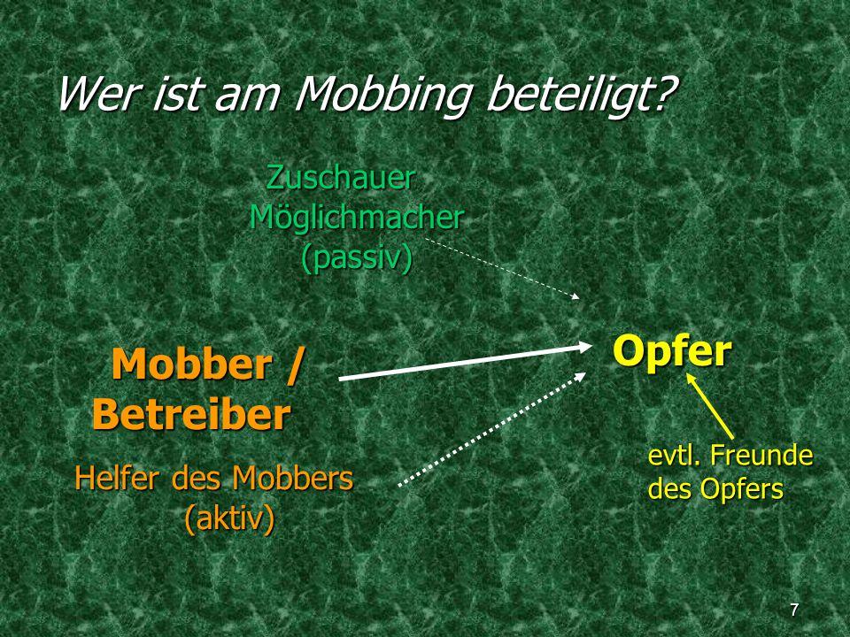 Wer ist am Mobbing beteiligt