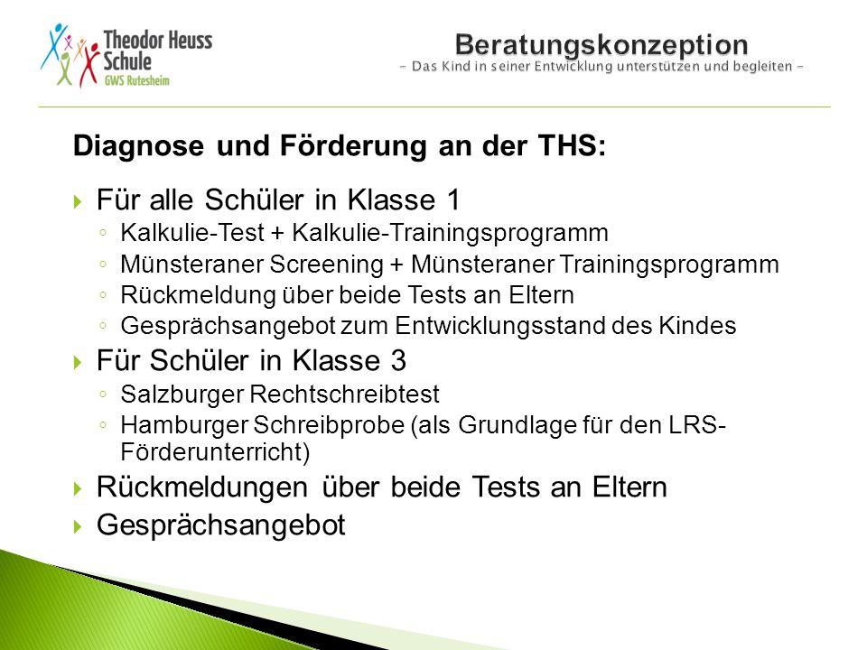 Diagnose und Förderung an der THS: Für alle Schüler in Klasse 1