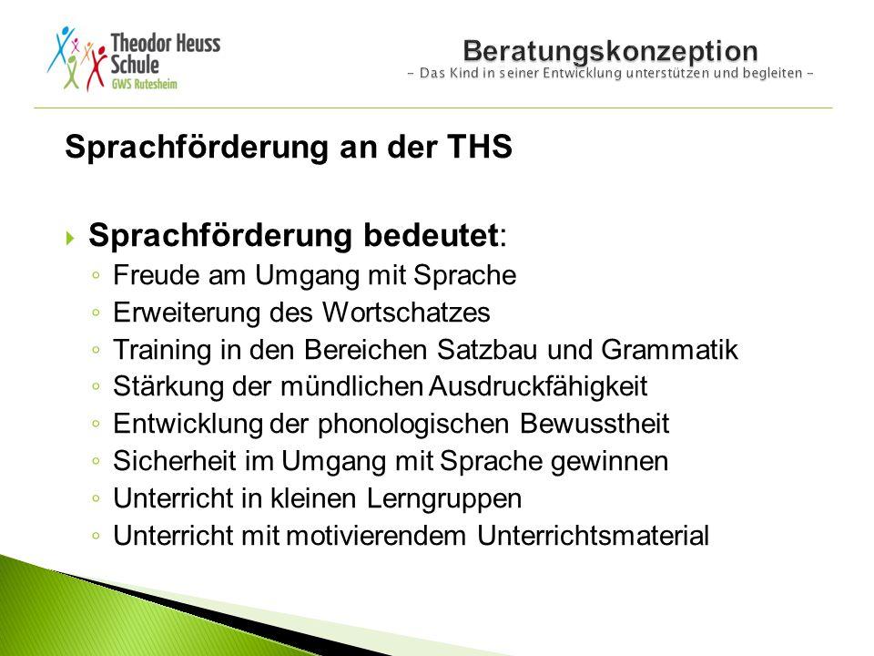 Sprachförderung an der THS Sprachförderung bedeutet: