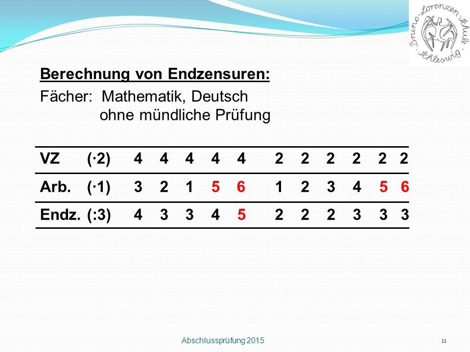 Berechnung von Endzensuren: Fächer: Mathematik, Deutsch