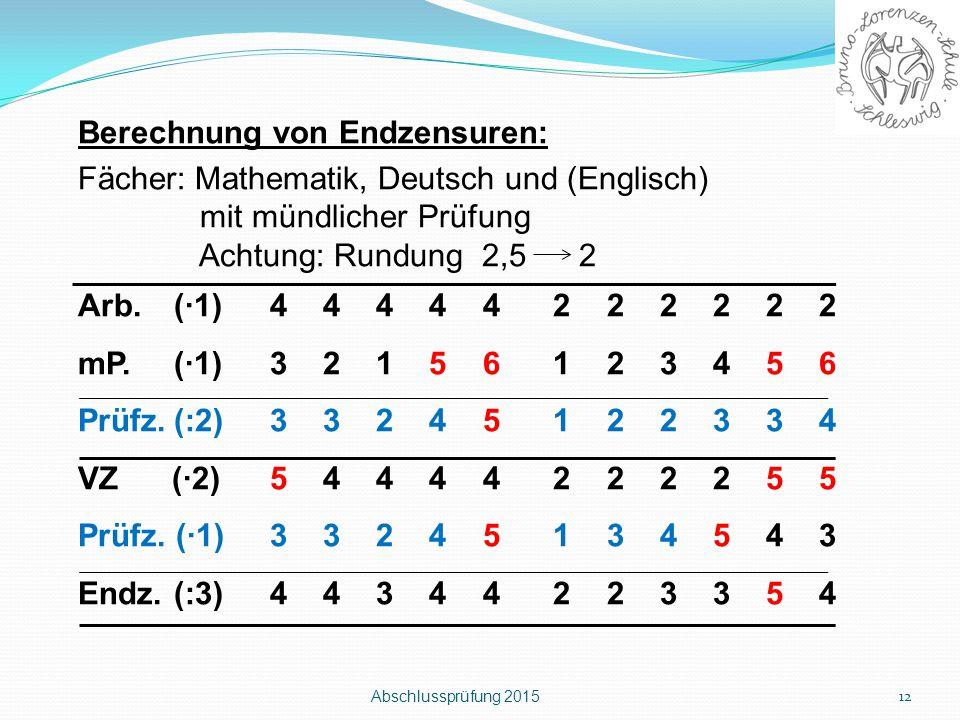 Berechnung von Endzensuren: Fächer: Mathematik, Deutsch und (Englisch)