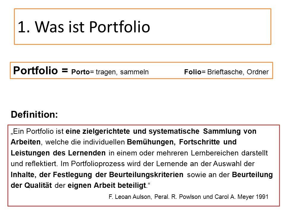 1. Was ist Portfolio Portfolio = Porto= tragen, sammeln Folio= Brieftasche, Ordner. Definition: