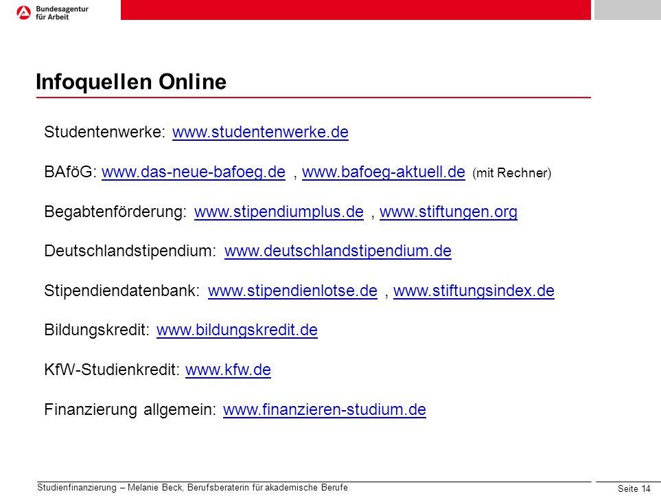 Infoquellen Online Studentenwerke: www.studentenwerke.de