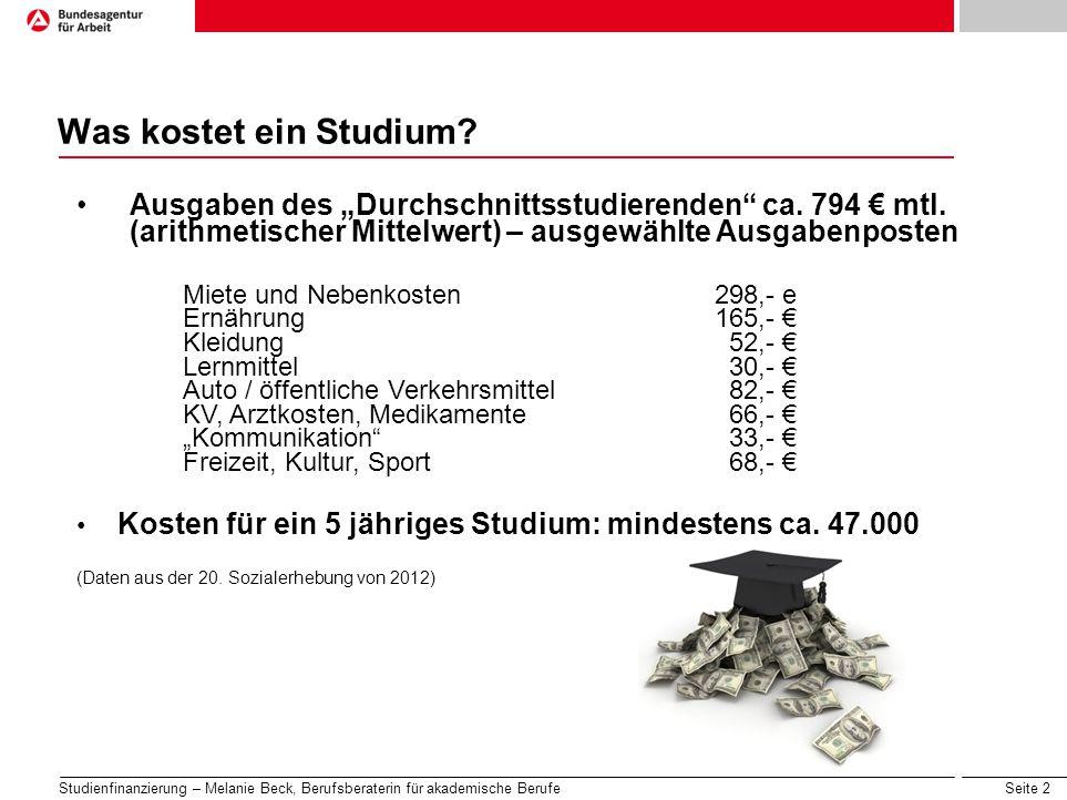 """Was kostet ein Studium Ausgaben des """"Durchschnittsstudierenden ca. 794 € mtl. (arithmetischer Mittelwert) – ausgewählte Ausgabenposten."""